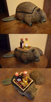 Paper-mache Beaver Alcohol Box by TeaLabel