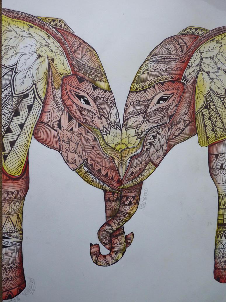 Patterned elephants by beckhammond