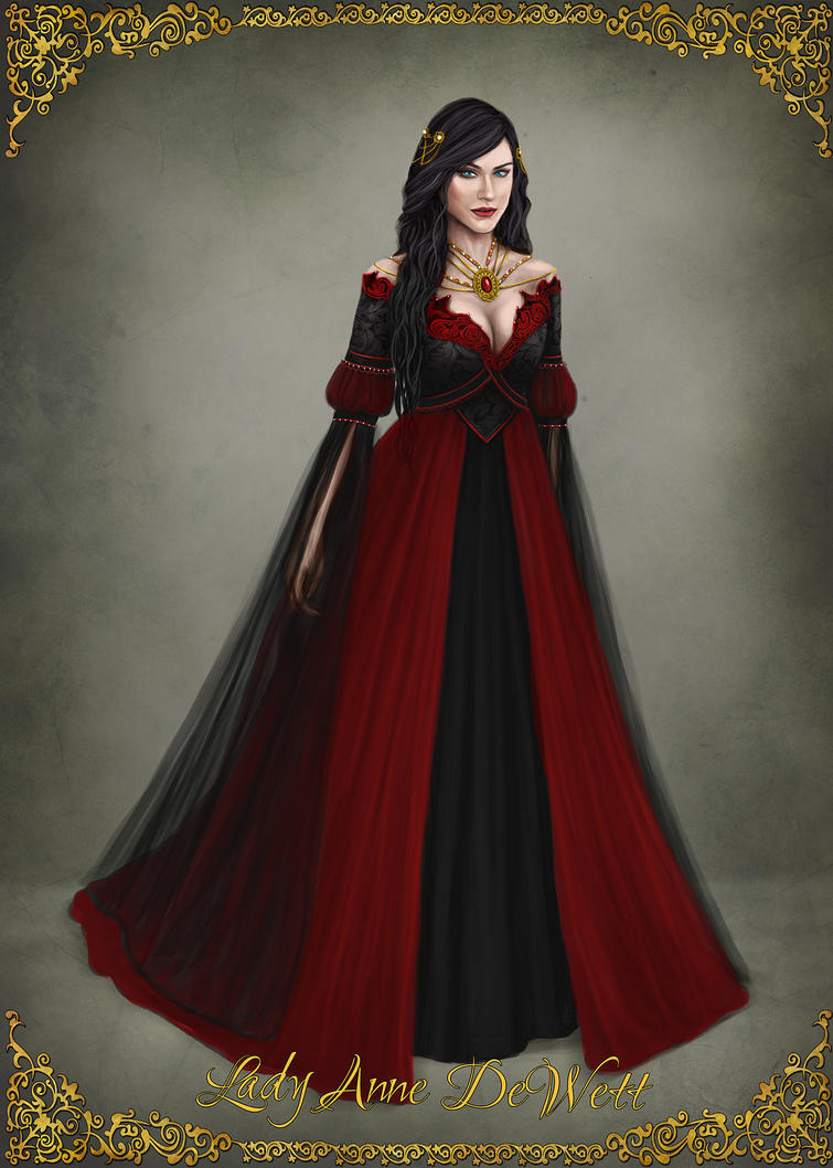 Lady Anne DeWett - Scarlet night ball dress by AbigailSins