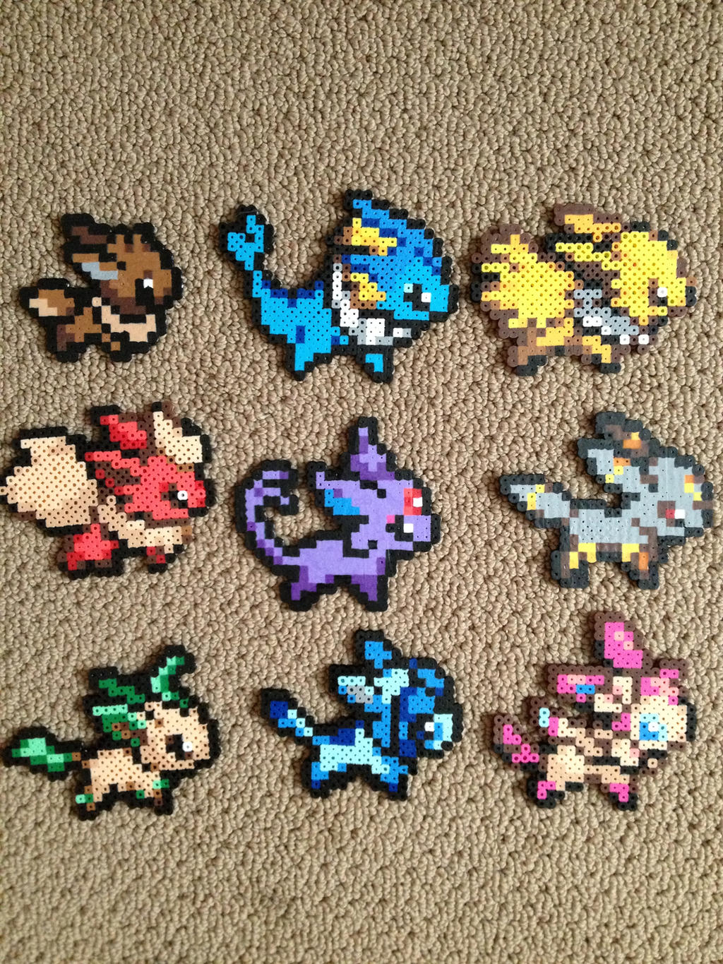eeveelution perler bead set by clayforpay on deviantart