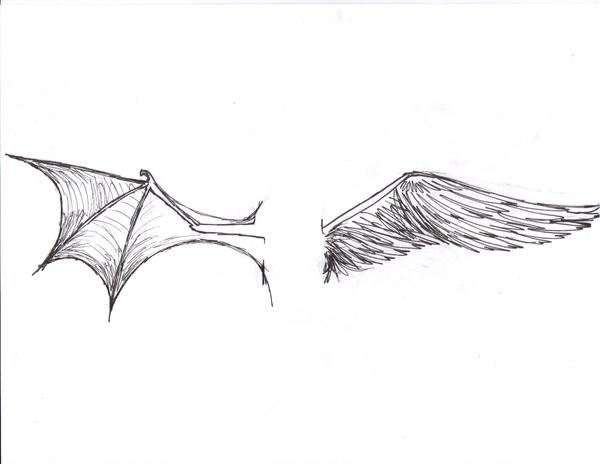 demon angel wing tattoo by wolvenbane08 on deviantart. Black Bedroom Furniture Sets. Home Design Ideas