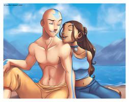 Aang and Katara by coloring