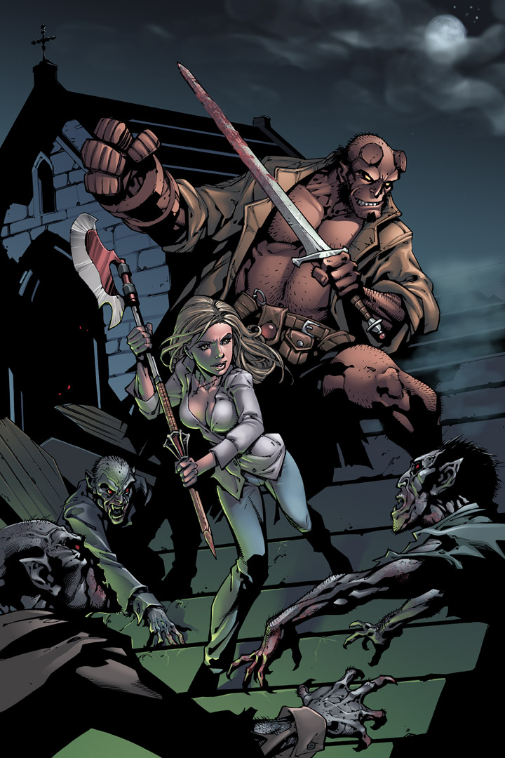 Buffy and Hellboy by coloring