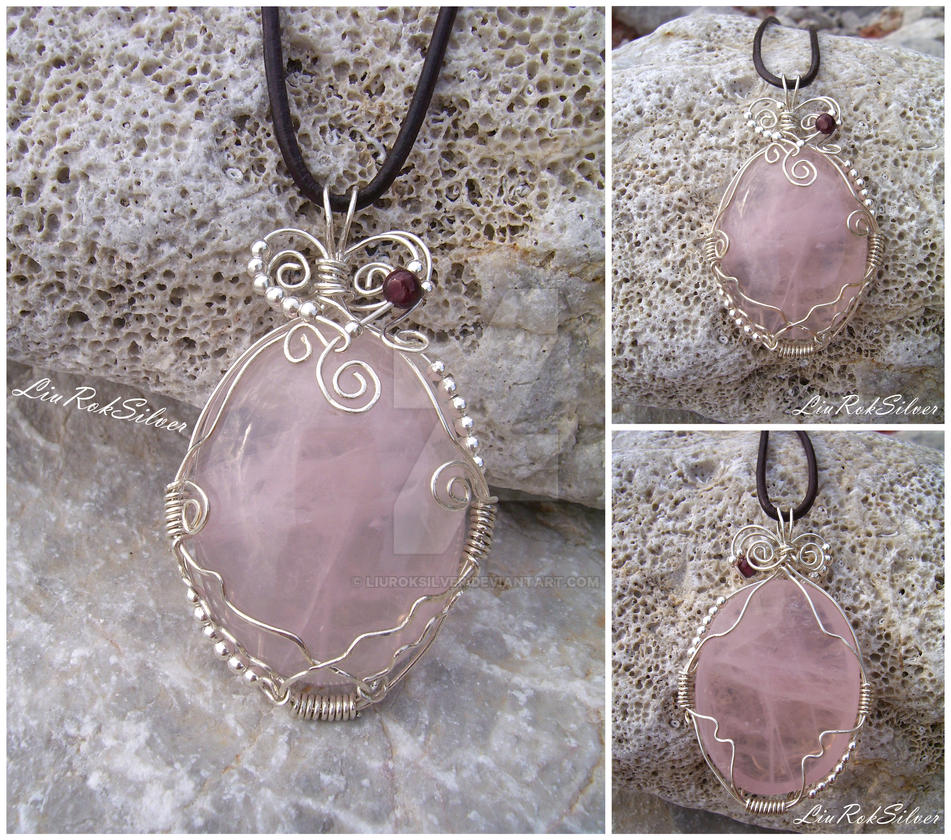 Rose Quartz Pendant by LiuRokSilver