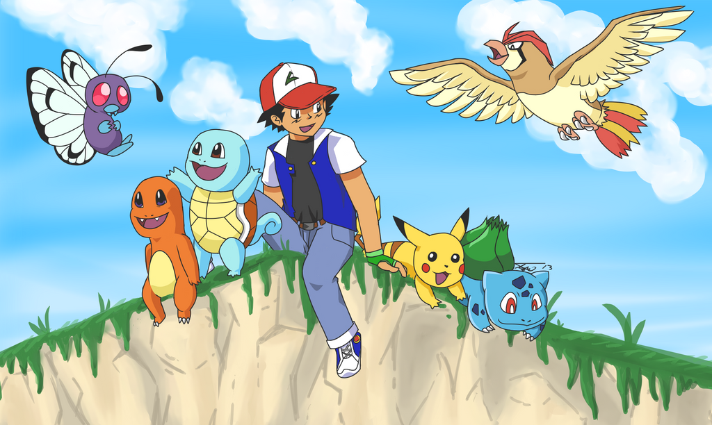 Pokemon ash 39 s team by tbeysquirrel on deviantart for Ash wallpaper mural