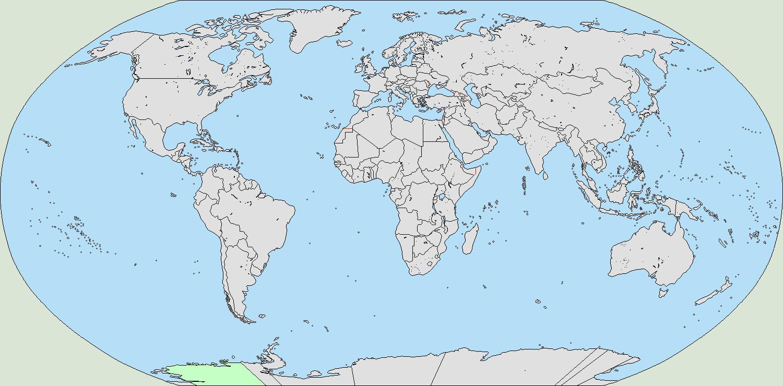 Worlda-like Wikipedia blank world map by