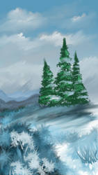 Trees in snow by PG-Artwork