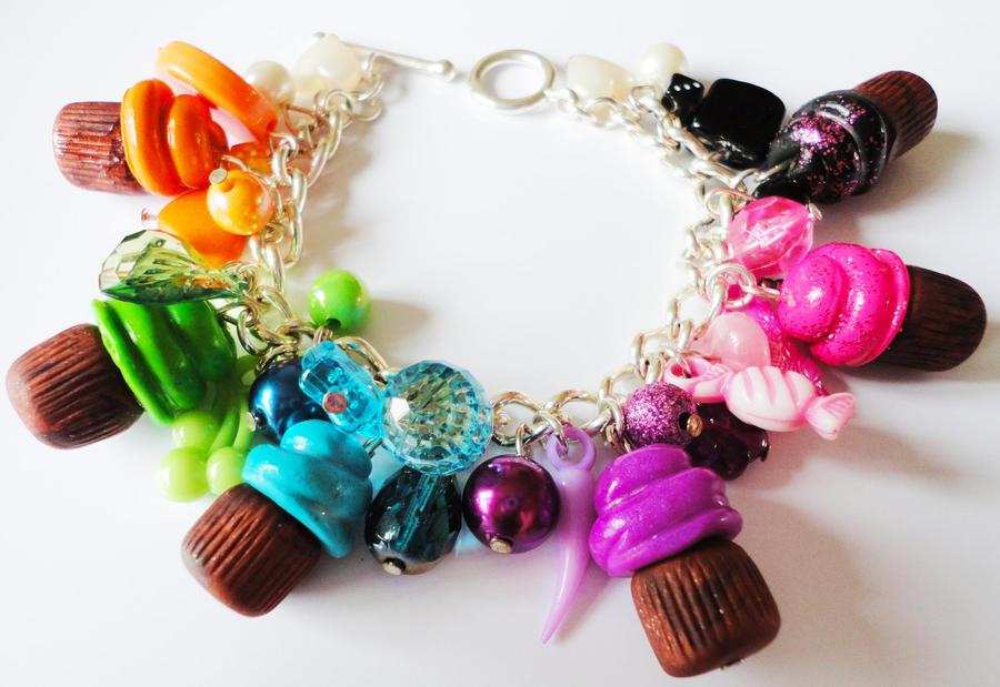 Rainbow Cute Cupcake Chunky Charm Bracelet by ...