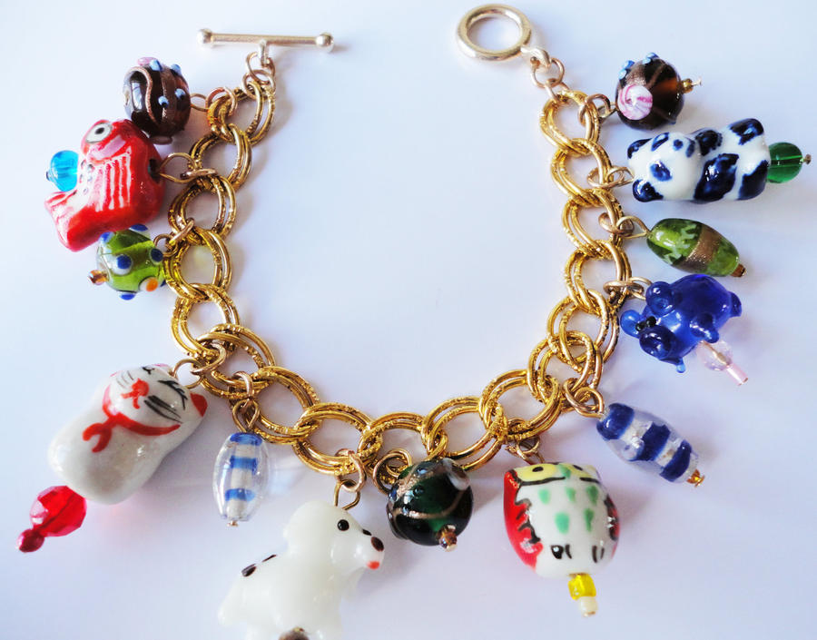 Lampwork Animal Charms Cute Bright Bracelet by ...