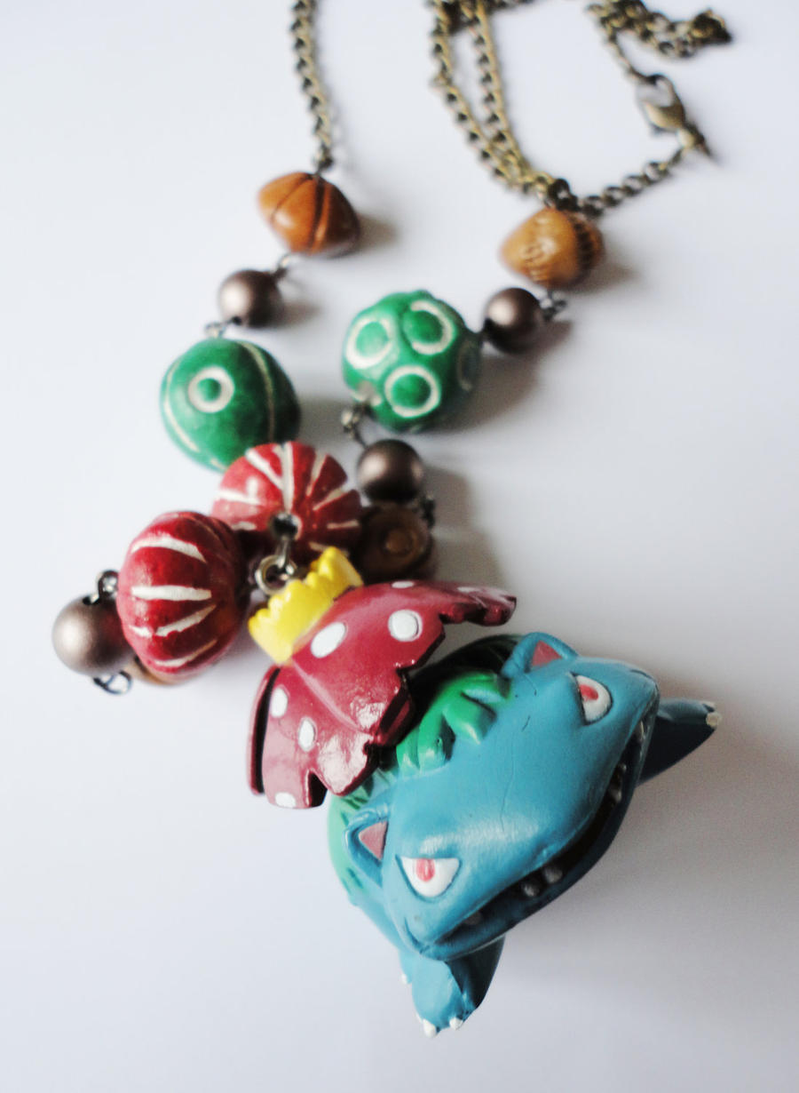 Pokemon Grass Type Venusaur Tribal Necklace by xhellojackiex