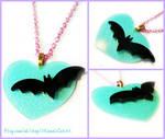 Mint Green Bat Necklace, Charity Piece