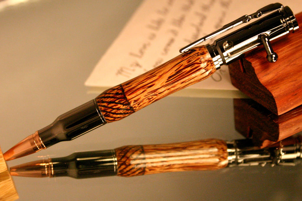 Handcrafted bolt action bullet pen with wood burn by HopeAndGracePens