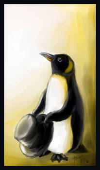 A penguin with a hat