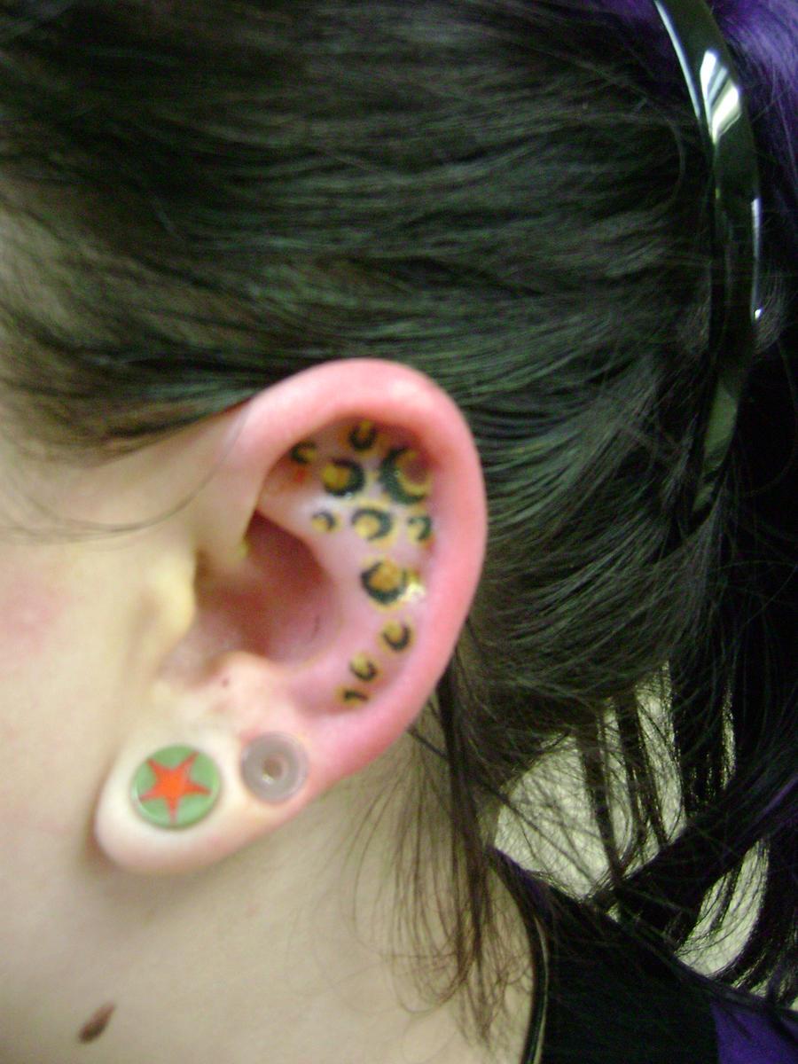 Cheetah Print Tattoo Behind Ear