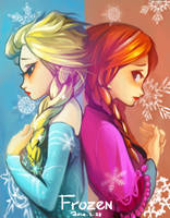 Elsa and Anna by CatLowTheMU