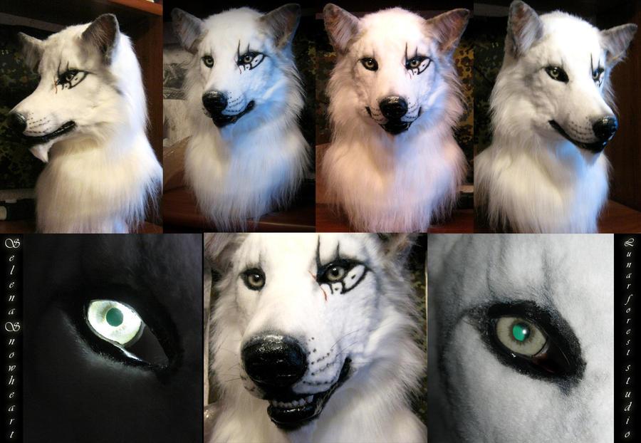 White wolf  head by SnowVolkolak