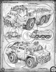 Vehicles: Page 29 of a conceptual sketchbook