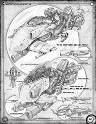 Antigrav bike: Page 30 of a conceptual sketchbook
