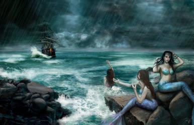 Sirens on the Rocks by ReddEra
