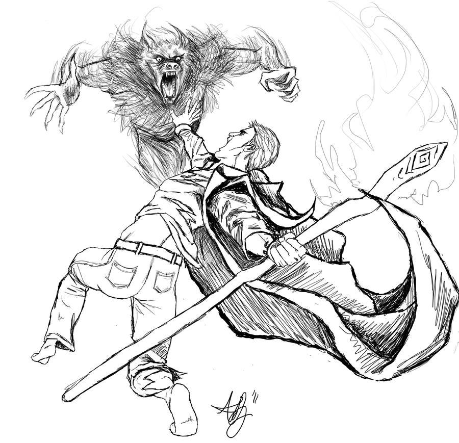 Drawings of werewolves fighting