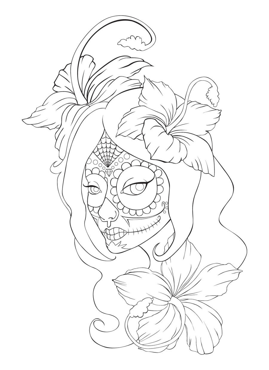 Skull Line Drawing Tattoo : Sugar skull tattoo lineart by sammyjd on deviantart
