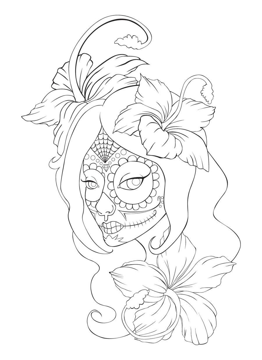 sugar skull designs coloring pages - photo#20