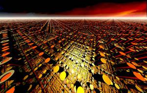 Cityscape at dusk by ciokkolata