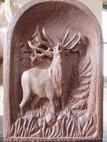 Deer bugling by woodcarve