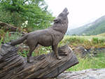 Woodcarver Wolf howling 1 in bog oak