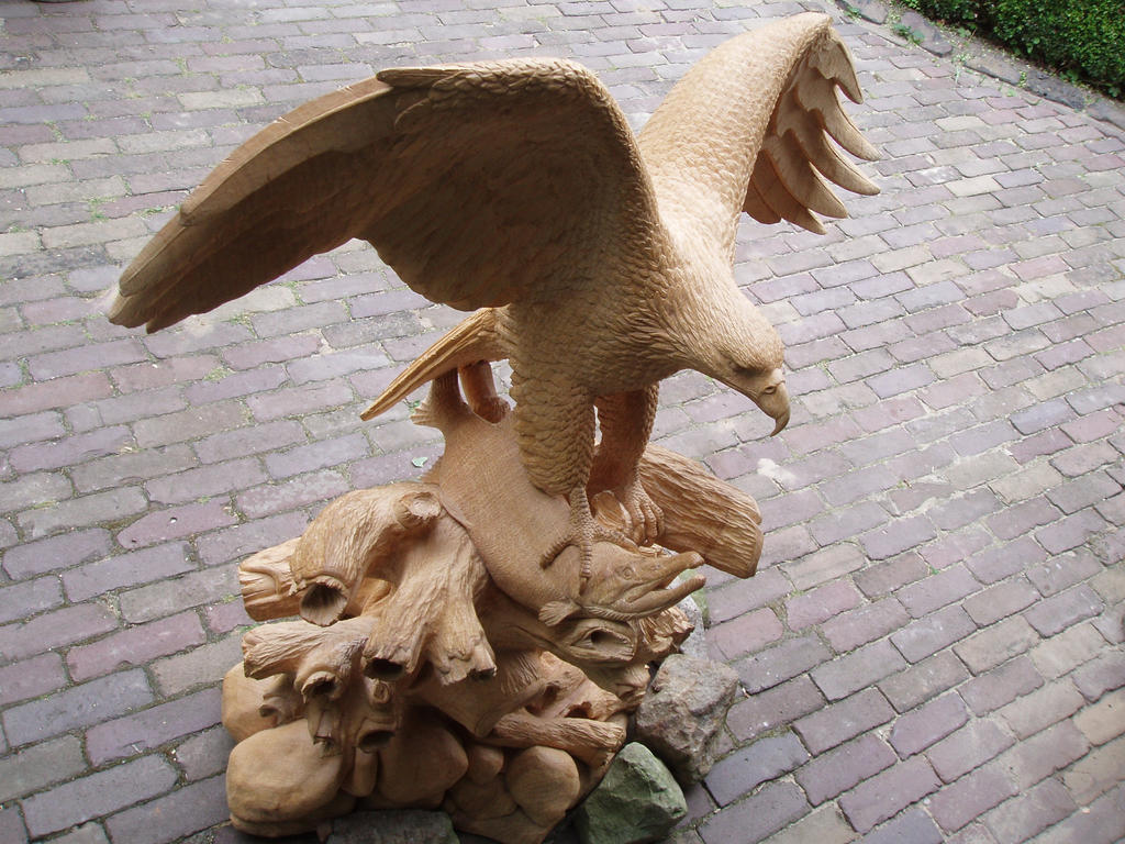 Eagle with salmon1 by woodcarve