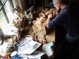 Alpine Ibex in progress18 by woodcarve