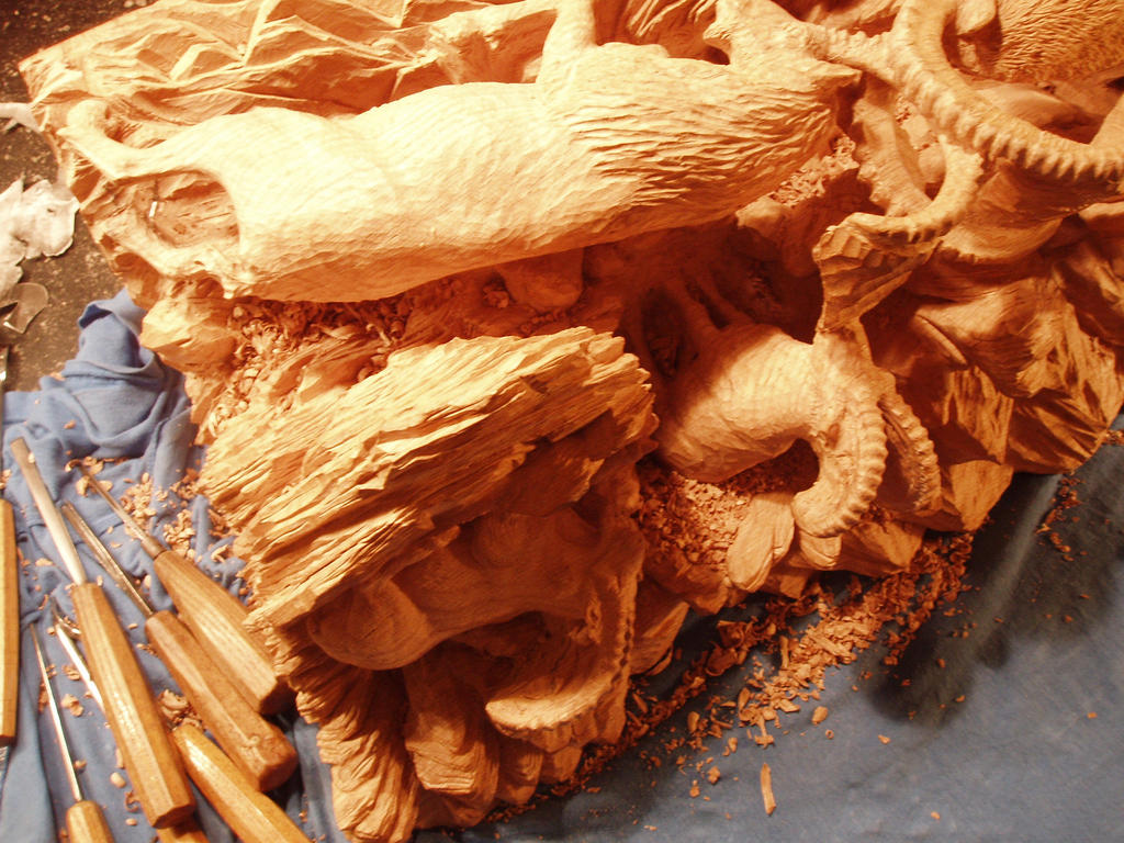 Alpine Ibex in progress 22 by woodcarve
