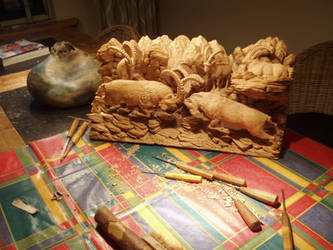 Woodcarver Alpine Ibex6 by woodcarve