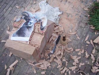 Bighornsheep in progress1 by woodcarve