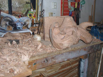 Bighornsheep in progress 2 by woodcarve