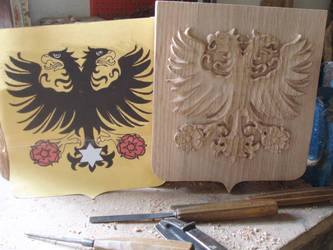 Coat of arms by woodcarve