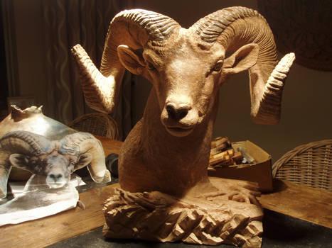 (woodcarve)Bighorn Sheep2
