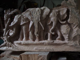 project elephant near the water woodcarving
