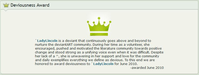 Deviousness Award, June 2010