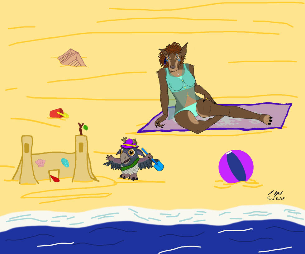 Ali and Buddy at the Beach by jsdragon56