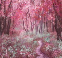 Red Amethyst Forest by midnightt-crystal