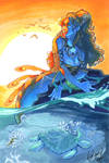 Sunset Mermaid by skardash