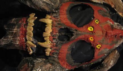 close up of demon mask