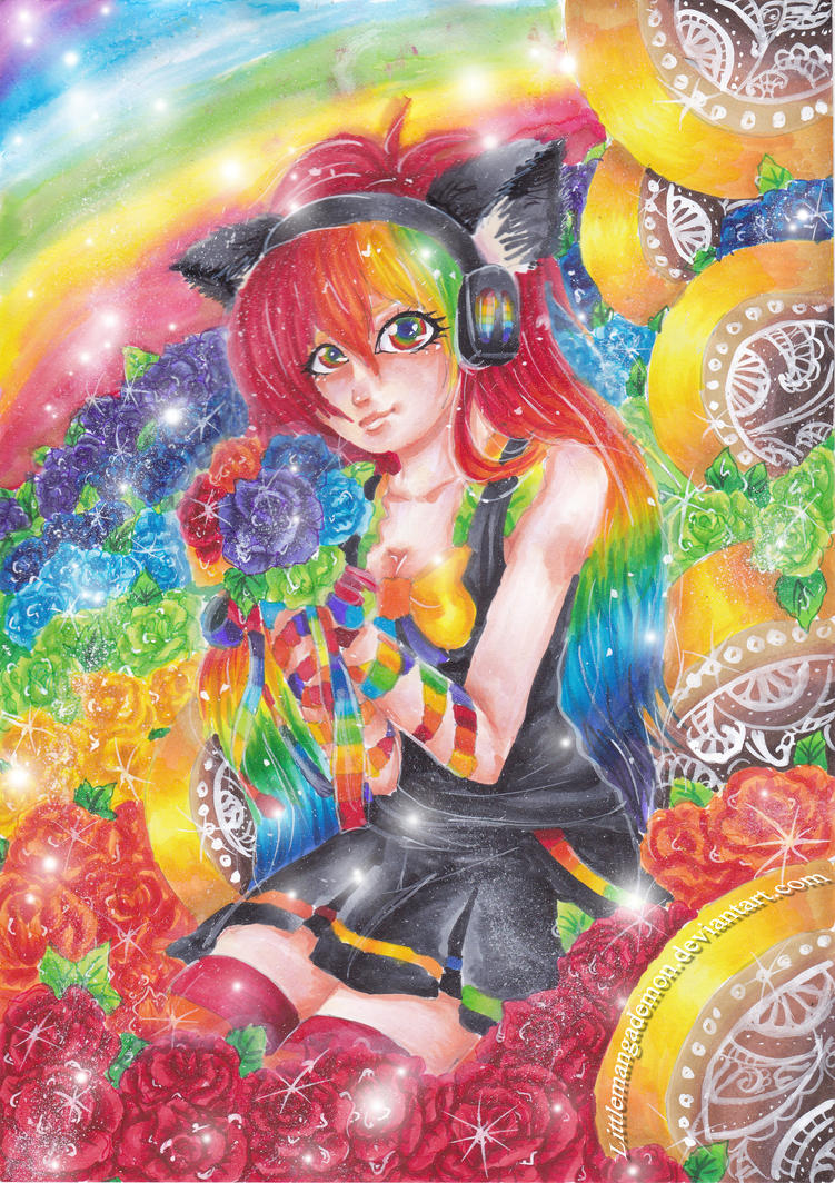 Colorful Roses : Commission by littlemangademon