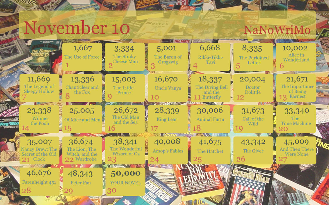 Nanowrimo Calendar 2010 b by celaenotheharpy