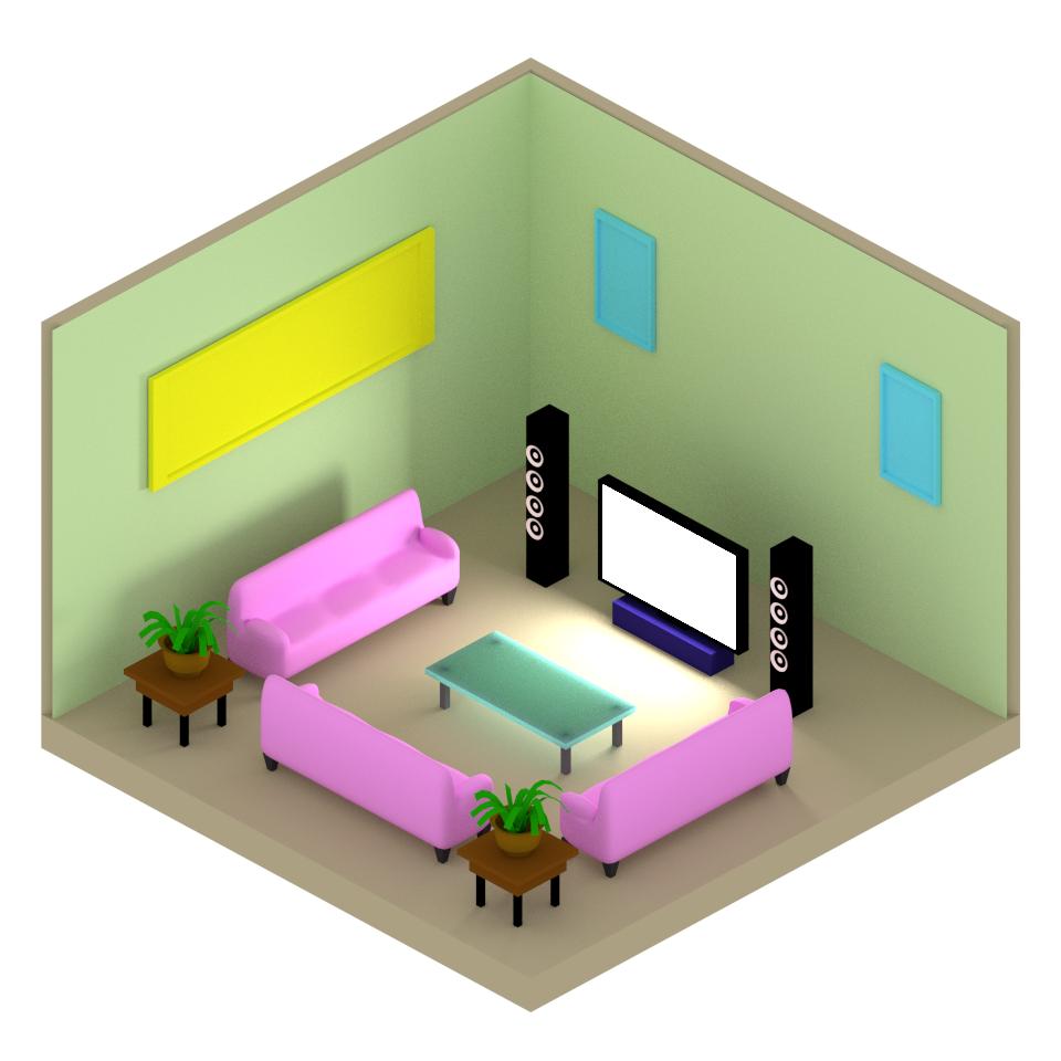 Basic Isometric Living Room By Phuymatric On DeviantArt