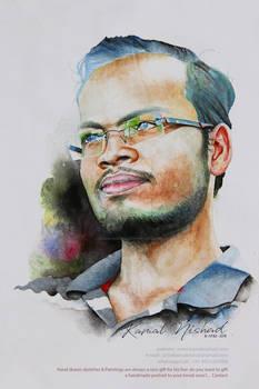 My Friend Arjun Singh - watercolor by Kamal Nishad