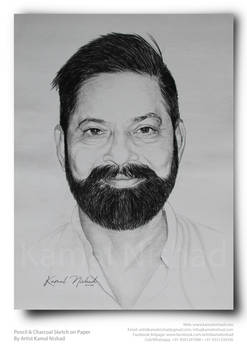 Pencil and Charcoal Sketch by Artist Kamal Nishad