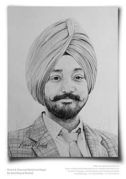 Pencil Sketch (a Sikh man)- by Artist Kamal Nishad