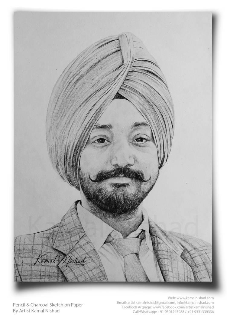 Pencil sketch a sikh man by artist kamal nishad by kamalnishad